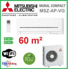 Mitsubishi Mural Inverter - Gamme Compact - R32 - MSZ-AP60VG + MUZ-AP60VG (6.0 kW)