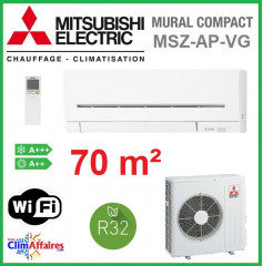 Mitsubishi Mural Inverter - Grandes Pièces - R32 - MSZ-AP71VG + MUZ-AP71VG (7.1 kW)