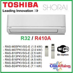 Toshiba Unité Intérieure - SHORAI - R410 - R32 - M05PKVSG / M07PKVSG / B10PKVSG / B13PKVSG / B16PKVSG / B22PKVSG / B24PKVSG
