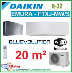 Daikin Climatisation - Design EMURA Bluevolution - R32 - FTXJ20MW/S + RXJ20M + WIFI (2.3 kW)
