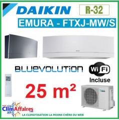 Daikin Climatisation - Design EMURA Bluevolution - R32 - FTXJ25MW/S + RXJ25M + WIFI (2.4 kW)