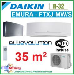 Daikin Climatisation - Design EMURA Bluevolution - R32 - FTXJ35MW/S + RXJ35M + WIFI (3.5 kW)