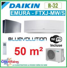 Daikin Climatisation - Design EMURA Bluevolution - R32 - FTXJ50MW/S + RXJ50M + WIFI (4.8 kW)