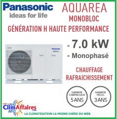 Panasonic - Aquarea - Pompe à Chaleur Air/Eau - Génération H Haute Performance -  Monobloc -  WH-MDC07H3E5 (7.0 kW)