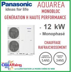 Panasonic - Aquarea - Pompe à Chaleur Air/Eau - Génération H Haute Performance -  Monobloc -  WH-MDC12H6H5 (12.0 kW)