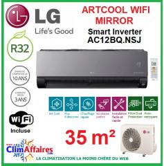 LG Climatisation Inverter - ARTCOOL MIRROR + WIFI - AC12BQ.NSJ + AC12BQ.UA3 (3.5 kW)