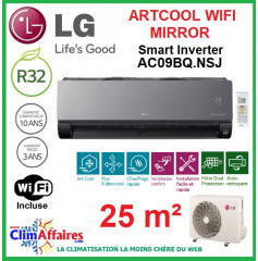 LG Climatisation Inverter - ARTCOOL MIRROR + WIFI - AC09BQ.NSJ + AC09BQ.UA3 (2.5 kW)