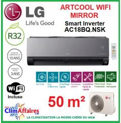 LG Climatisation Inverter - ARTCOOL MIRROR + WIFI - AC18BQ.NSK + AC18BQ.UL2 (5.0 kW)
