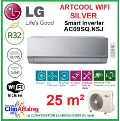 LG Climatisation Inverter - ARTCOOL SILVER + WIFI - AC09SQ.NSJ + AC09BQ.UA3 (2.5 kW)