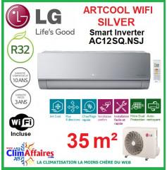 LG Climatisation Inverter - ARTCOOL SILVER + WIFI - AC12SQ.NSJ + AC12BQ.UA3 (3.5 kW)