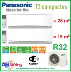Panasonic Climatisation Bi-Splits - R32 - Mural TZ Compacte - CU-2Z41TBE + CS-MTZ16TKE + CS-TZ25TKEW-1 (4.1 kW)