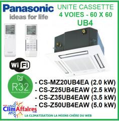 Panasonic Unités Intérieures Multisplits - CASSETTE 4 voies 60 x 60 UB4 + Panneau CZ-BT20EW - De 2 kW à 5 kW - R32