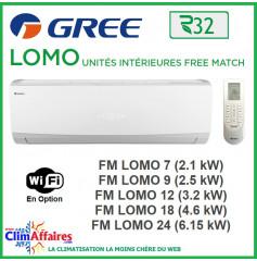 GREE Unités Intérieures - Free Match - LOMO - R32 - FM LOMO 7 / FM LOMO 9 / FM LOMO 12 / FM LOMO 18 / FM LOMO 24