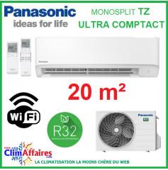 Panasonic Climatisation Murale Inverter - TZ Ultra-Compact - R32 - CS-TZ20WKEW + CU-TZ20WKE + WIFI (2.0 kW)