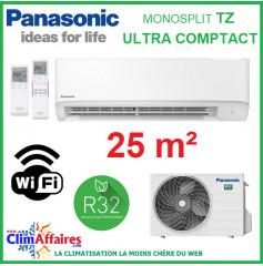 Panasonic Climatisation Murale Inverter - TZ Ultra-Compact - R32 - CS-TZ25WKEW + CU-TZ25WKE + WIFI (2.5 kW)