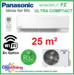 Panasonic Climatisation Mural Inverter - FZ Ultra Compact - R32 - CS-FZ25WKE + CU-FZ25WKE (2.5 kW)