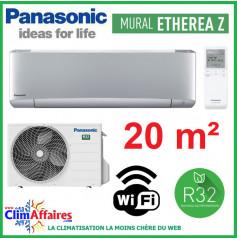 Panasonic Climatisation Inverter - ETHEREA Z - R32 - Gris Argenté - CS-XZ20VKEW + CU-Z20VKE + WIFI (2.0 kW)
