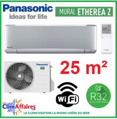 Panasonic Climatisation Inverter - ETHEREA Z - R32 - Gris Argenté - CS-XZ25VKEW + CU-Z25VKE + WIFI (2.5 kW)