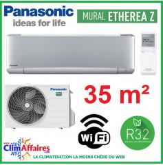 Panasonic Climatisation Inverter - ETHEREA Z - R32 - Gris Argenté - CS-XZ35VKEW + CU-Z35VKE + WIFI (3.5 kW)