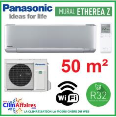 Panasonic Climatisation Inverter - ETHEREA Z - R32 - Gris Argenté - CS-XZ50VKEW + CU-Z50VKE + WIFI (5.0 kW)