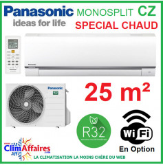 Panasonic Climatisation Mural Inverter - CZ Spéciale Chauffage - R32 - CS-CZ25TKE + CU-CZ25TKE (2.5 kW)