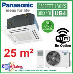 Panasonic Climatisation Inverter - CASSETTE 4 VOIES 60 X 60 UB4 - R32 - CS-Z25UB4EAW + CU-Z25UBEA + FAÇADE CZ-BT20EW (2.5 kW)