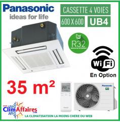 Panasonic Climatisation Inverter - CASSETTE 4 VOIES 60 X 60 UB4 - R32 - CS-Z35UB4EAW + CU-Z35UBEA + FAÇADE CZ-BT20EW (3.5 kW)