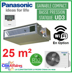 Panasonic Climatisation Inverter - GAINABLE BASSE PRESSION UD3 - R32 - CS-Z25UD3EAW + CU-Z25UBEA (2.5 kW)