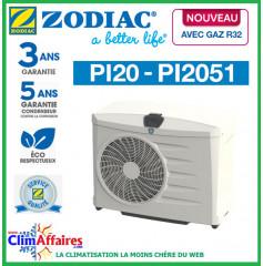 ZODIAC - PI20 - Pompe à chaleur pour piscine - PI2051 - R32 - 14.8 kW - Monophasé (Jusqu'à 70 m³)