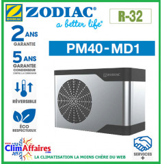 ZODIAC - PM40 - Pompe à chaleur pour piscine - PM40 MD1 - R32 - 4.7 kW - Monophasé - Réversible (Jusqu'à 20 m³)