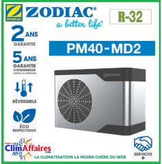ZODIAC - PM40 - Pompe à chaleur pour piscine - PM40 MD2 - R32 - 7.5 kW - Monophasé - Réversible (Jusqu'à 30 m³)