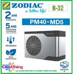 ZODIAC - PM40 - Pompe à chaleur pour piscine - PM40 MD5 - R32 - 14.7 kW - Monophasé - Réversible (Jusqu'à 70 m³)
