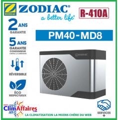 ZODIAC - PM40 - Pompe à chaleur pour piscine - PM40 MD8 - R410A - 22.5 kW - Monophasé - Réversible (Jusqu'à 110 m³)