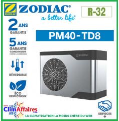 ZODIAC - PM40 - Pompe à chaleur pour piscine - PM40 TD8 - R32 - 22.1 kW - Triphasé - Réversible (Jusqu'à 110 m³)