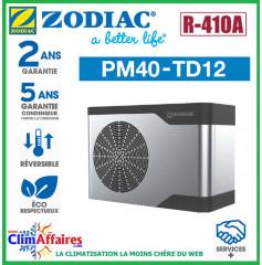 ZODIAC - PM40 - Pompe à chaleur pour piscine - PM40 TD12 - R410A - 32 kW - Triphasé - Réversible (Jusqu'à 140 m³)