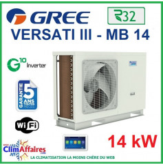 GREE - Versati lll - MB 14 - Pompe à Chaleur Air/Eau - Monobloc - Monophasé - 3IGR5109 (14 kW)