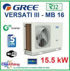 GREE - Versati lll - MB 16 - Pompe à Chaleur Air/Eau - Monobloc - Monophasé - 3IGR5110 (15.5 kW)