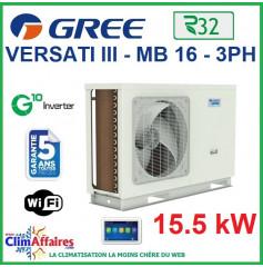 GREE - Versati lll - MB 16 3PH - Pompe à Chaleur Air/Eau - Monobloc - Triphasé - 3IGR5114 (15.5 kW)