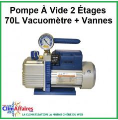 Pompe À Vide 2 Étages 70L Vacuomètre + Vannes