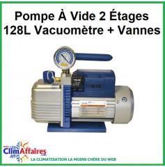 Pompe À Vide 2 Étages 128L Vacuomètre + Vannes