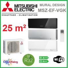 Mitsubishi Mural Inverter - Gamme DESIGN - R32 - MSZ-EF25VGK + MUZ-EF25VG + WIFI (2.5 kW)