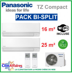 Panasonic Climatisation Bi-Splits - R32 - Mural TZ Ultra Compact - CU-2Z41TBE + CS-MTZ16WKE + CS-TZ25WKEW + WIFI (4.1 kW)