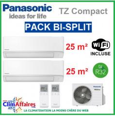 Panasonic Climatisation Bi-Splits - R32 - Mural TZ Ultra Compact - CU-2Z50TBE + 2 x CS-TZ25WKEW + WIFI (5.0 kW)