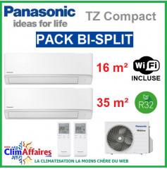Panasonic Climatisation Bi-Splits - R32 - Mural TZ Ultra Compact - CU-2Z50TBE + CS-MTZ16WKE + CS-TZ35WKEW + WIFI (5.0 kW)