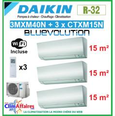 Daikin Tri-Split - PERFERA Bluevolution - R32 - 3MXM40N + 3 x CTXM15N + WIFI (4.0 kW)