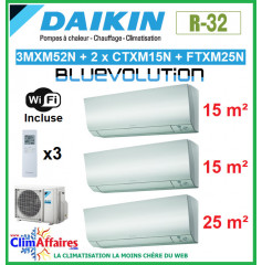 Daikin Tri-Split - PERFERA Bluevolution - R32 - 3MXM52N + 2 x CTXM15N + FTXM25N + WIFI (5.2 kW)