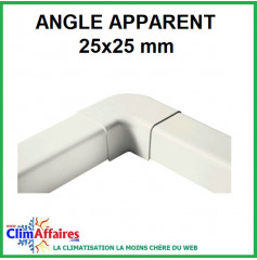 Angle apparent pour raccord goulotte 25x25 mm