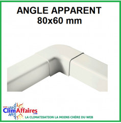Angle apparent pour raccord goulotte 80x60 mm - Ivoire