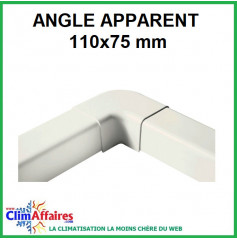Angle apparent pour raccord goulotte 110x75 mm - Ivoire