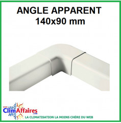 Angle apparent pour raccord goulotte 140x90 mm - Ivoire